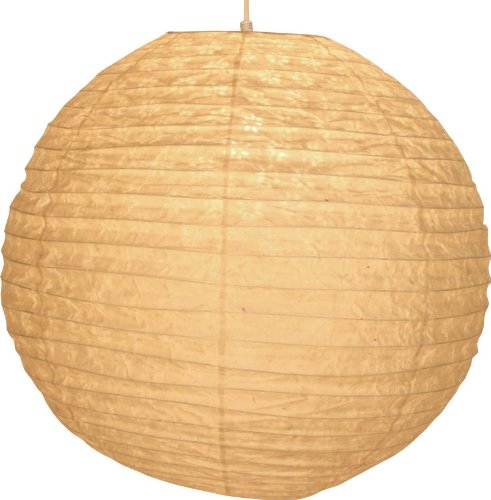 Guru-Shop Runder Lokta Papierlampenschirm, Hängelampe Corona Ø 50 cm, Weiß, Lokta-Papier, Farbe: Weiß, Deckenleuchte Kugelförmig