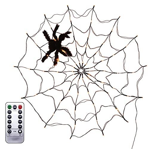 LIUYUN Luces de araña de Halloween decoración de 3 pies naranja luces de araña negra cadena de luces LED control remoto para casa patio jardín interior y exterior (batería)