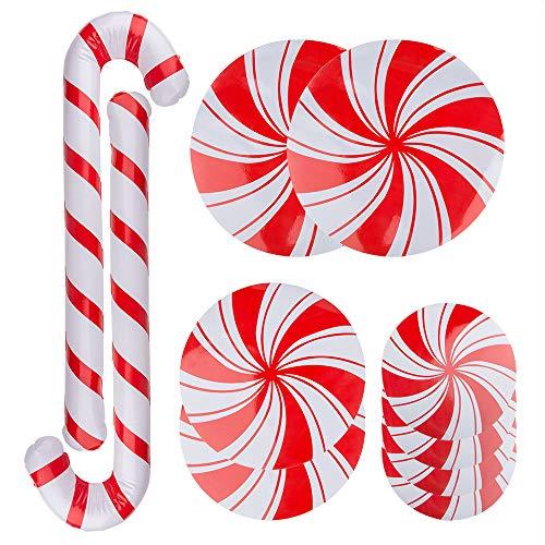 8 piezas de calcomanías de piso de menta, calcomanías de Navidad de Sonku para suministros de fiesta de dulces con 2 piezas de bastón de caramelo inflable para decoraciones navideñas al aire libre Juego de 10