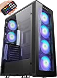 MUSETEX ATX Mid-Tower PC Gaming Case with 6 PCS x ARGB Fans & 2 PCS x USB3.0 Ports Remote Control Tempered Glass Computer Chassis(T400-MN6)
