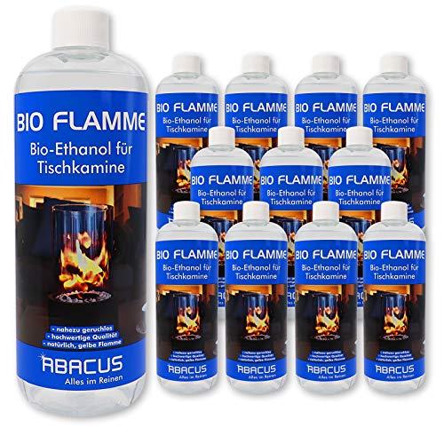 BIO FLAMME 12x 1000 ml (7069) - Bio-Alkohol Brennstoff Alkohol Brennalkohol Brennspiritus Spiritus Lampenbrennstoff Bio-Ethanol für Tischkamine - ABACUS
