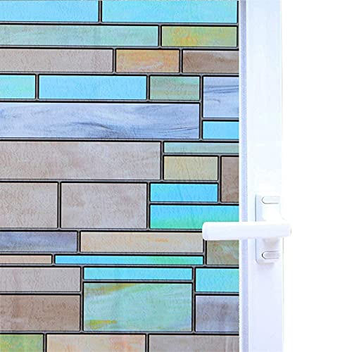 Niviy Privacy Window Covering Brick Stained Glass Window Film Waterproof Static Window Cling, 17.7' by 78.7' No Adhesive Glass Window Decor for Bathroom Kids Room Sliding Door