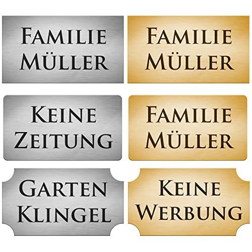 2x Klingelschild selbstklebend Briefkastenschild - Briefkasten Namensschild Türschild mit Gravur Silber Gold Witterungsbeständig verschiedene Formen und Größen