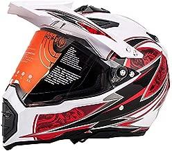 MotorFansClub Motorcycle Modular Full Face Helmet Off-Road Dirt Bike Motorcycle Flip Up Visor Sun Shield Red White XL