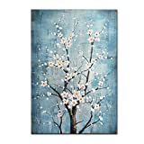 FLY SPRAY 100% Hand Painted Oil Paintings Canvas Wall Art Tree Flowers Blossom Blue Artwork Stretched Framed...