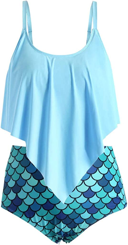 Mermaid Print Tankini Swimsuits High Waisted Swim Bottom with Ruffle Bandeau Top Beach Bikini Gradient Swimwear