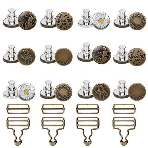 12 Pcs Botón Instantáneo y 4 Pcs Hebillas de Metal para Tirantes, Botones de Repuesto para Pantalones Vaqueros Botones Extraíbles para DIY, Reparación, (17 mm y 32mm)