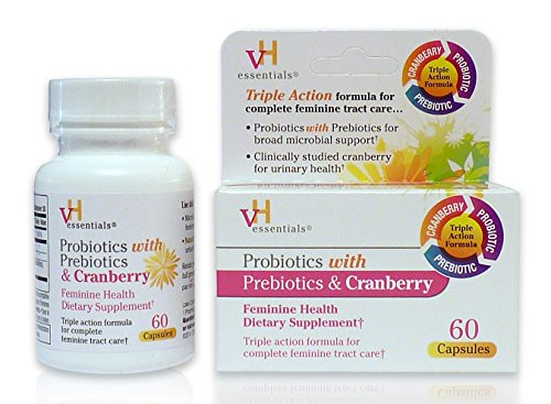 vH essentials Probiotics with Prebiotics and Cranberry Feminine Health Supplement - 60 Capsules