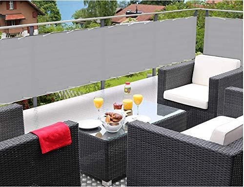 MODKOY ParaventoperBalconi 50x650cm 100% Privatsphäre,PES 185 g/m², Windschutz Wasserdicht, mit Nylon Kabelbinder und Kordel, für den Gartenzaun oder Balkon - Grau