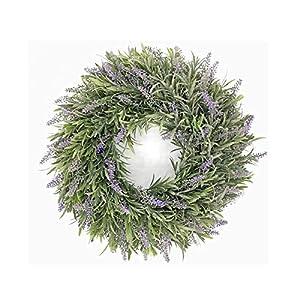 QAVILFLY Front Door Wreaths, Artificial Green Leaves Wreath, Summer Wreath Outdoor Green Wreath for Indoor Outdoor Home Office Wall Wedding, Silk Flowers Door Wreath for Holiday Decor, 1 Pcs