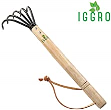 Garden Rake with Ergonomic Wooden Handle for Firm Grip, Military Grade Steel Gardeners Tine Cultivator Prime Wood Japanese Ninja Claw Rake for Perfect Pulverized and Aerated Soil