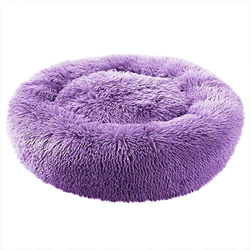 Suncolor8 Soft Dog Calming Bed, Pet Cat Round Warm Cuddler Kennel Soft Puppy Sofa, Cat Cushion Bed Large Dog Sleeping Bag Orthopedic Relief and Improved Sleep,Machine Washable (XXL,Purplr) Better