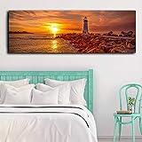 WTYBGDAN Schöne Sonnenuntergang Meer Poster Leuchtturm