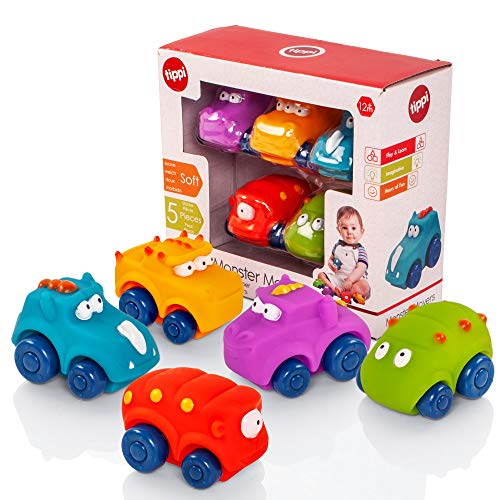 Tippi Monster Movers Soft Play Baby Toy Cars - Toy Car Set For 1 Year Old - Set of 5 - 1 Year Old...