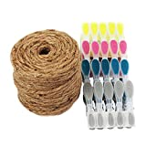 GRÜNTEK Cordel de yute natural 6mm x 1 Rollos de 60 m. Cuerda de yute Hilo macramé para jardinería, decoración, tarjetas de regalo. Color natural