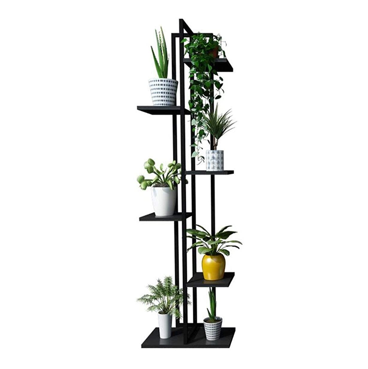 アーティキュレーション机リテラシー植物スタンド、フラワースタンド6層鉄フラワースタンド/フラワーラックと金属黒立ちラック盆栽ディスプレイスタンド(#1)