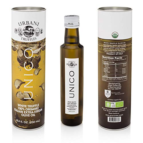 Italian White Truffle Extra Virgin Olive Oil - 8.4 Oz - by Urbani Truffles. Organic Truffle Oil 100% Made In Italy Without Chemicals And With Real Truffle Pieces Inside The Bottle. No Artificial Aroma