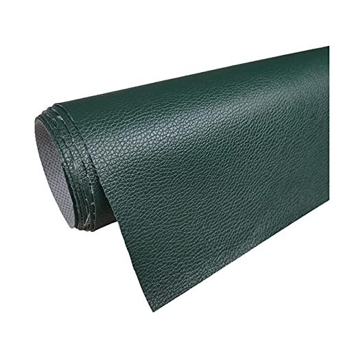 Tela de Cuero 160 Cm de Ancho PVC Litchi Patrón de Imitación de Cuero para Reparación de Sofás Costura Elaboración de Proyectos de Bricolaje - (1 Pieza = 100Cm X160cm) - Verde Oscuro,1.6x1m