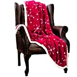 HBlife Christmas Sherpa Fleece Throw Blanket Fuzzy Warm Plush Christmas Decoration Snowflakes Dots Microfiber Holiday Blanket for Couch Bed Sofa, 50 x 60 inch, Rubine Red