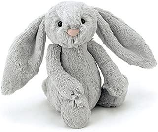 Jellycat Bashful Grey Bunny Stuffed Animal, Medium, 12 inches