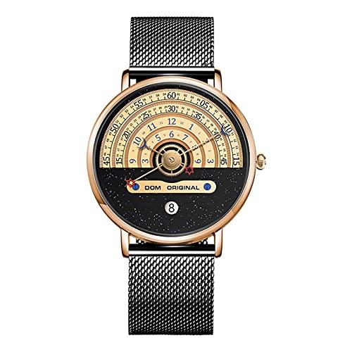 LOEMWJ Relojes De Pulsera Personal Original Hombre Reloj Movimiento Japonés Moda Deportes Casual Reloj De Cuarzo Impermeable Relojes De Cuarzo (Color : Black a)