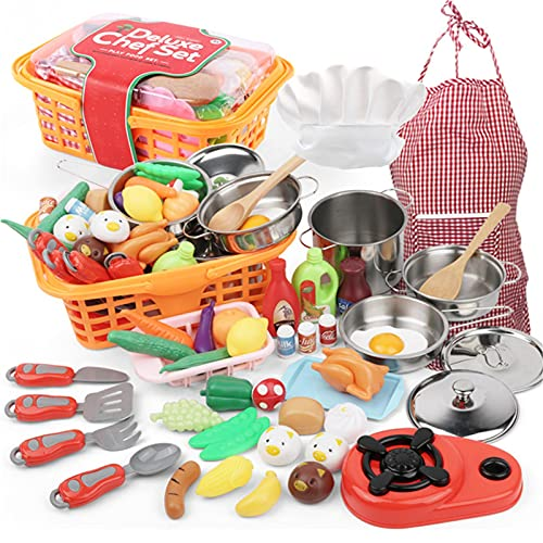 42PCS Kids Cookware Set Pretend Play Toys Set, Mini Kitchens Accessories Toys Pans Set And Vegetables, Apron & Chef Hat, Fun Childrens Role Play Set Educational Gifts For Kids Girls Boys Toddlers