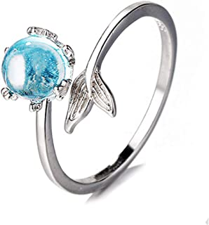 Cute Blue CZ Fish Tail Adjustable Rings for Women Girls Teen Animal Toe Finger Rings Open Band Ring Statement Ring Wedding...