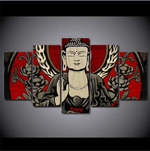 KPVK Cuadros modulares Impresos Lienzo Grande Dios Budismo 5 Piezas Pinturas para Dormitorio Sala de Estar hogar Pared Arte decoración