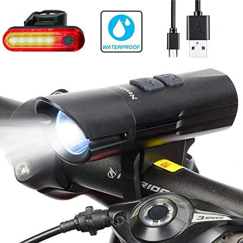 Nestling Luzde Bicicleta, Luz Bicicleta LED Recargable USB,2400 Lúmenes Súper Potente Luz Bicicleta LED Impermeable,Luces Bici Delantera and LED Luces Trasera Kit,4 Modos Iluminación