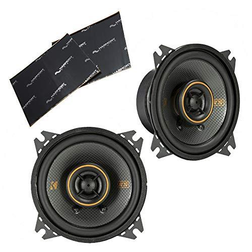 "Kicker 47KSC404 Car Audio 4"" Coaxial 300W Peak Full Range Speakers Pair KSC404 Bundle with Harmony Audio Sound Dampening Speaker Kit"