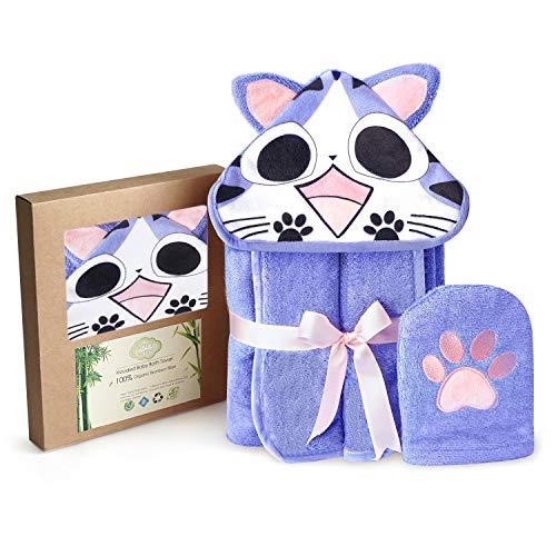 Cat Style Bamboo Baby Hooded Bath Towel & Washing Glove Set - Size 40x28