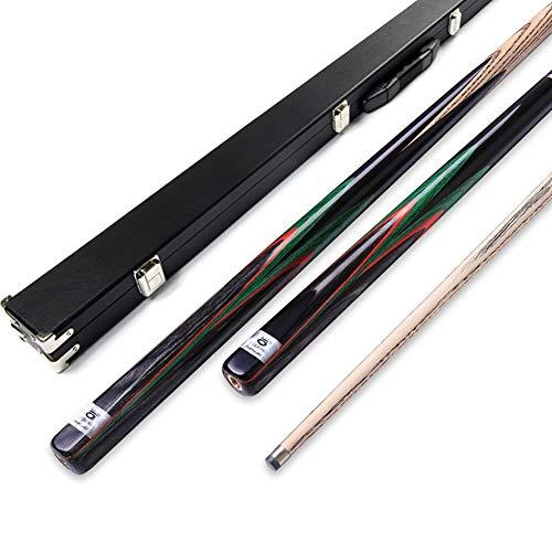 OMIN Snookerqueue LeiZe Modell 3/4 mit Koffer, handgefertigt, Eschenholz, Gelenkschutz, Verlängerung, Schwarzes normales Gehäuse, 10 mm