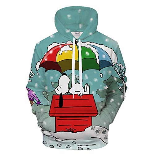Zhuwy Herren Hoodie Kapuzenpullover Tunnelzug Pullover Langarm Sweatshirt 3D Druck Unisex Kapuzenjacke Mit Taschen Weihnachten Kleidung Anime Pullover Tops Snoopy 3XL