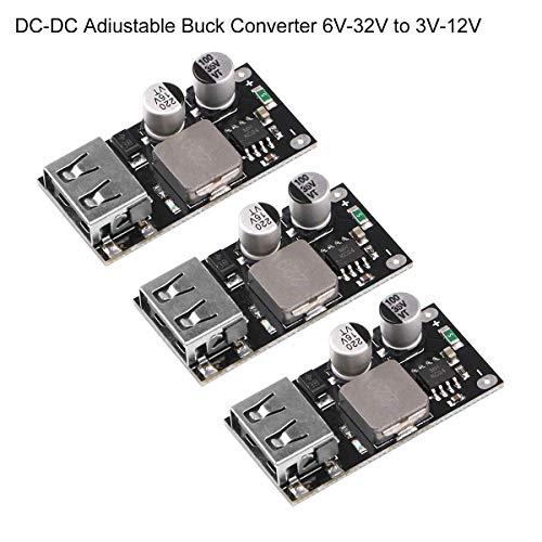 ICQUANZX 3 stücke DC-DC Einstellbare Buck Converter 6 V-32 V (12 24 V) Power Buck Modul zu QC3.0 Schnellladung Einzel USB Step Down Netzteil Converter für IP-Hone Hua-wei FCP