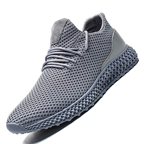 Zeoku Men's Running Shoes Non Slip Fashion Breathable Sneakers Mesh Soft Sole Casual Athletic Lightweight Walking Shoes(11,Gray)