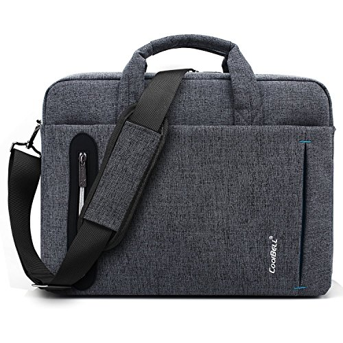 CoolBELL Laptoptasche 17.3 Zoll Herren Aktentasche Business Messenger Bag Umhängetasche Arbeitstasche tragbar Notebook Schultertasche für Schule Damen, Grau