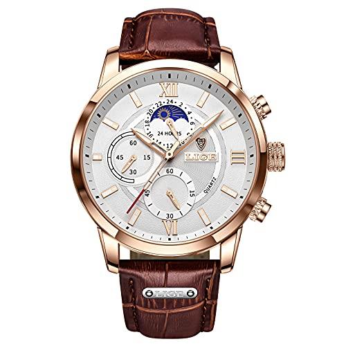 LIGE Reloj Hombre Cuarzo Cronógrafo Impermeable Acero Inoxidable Cuero Clásico Casual Business Negro Deporte Reloj de Pulsera