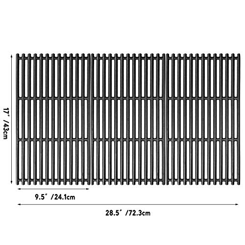 Uniflasy 17 Inches Matte Cast Iron Cooking Grid Grates for Charbroil 463242715, 463242716, 463276016, 466242715, 466242815, G533-0009-W1, Lowe's 606682, Walmart 555179228 Gas Grills, Set of 3 (Renewed) Grates Grids