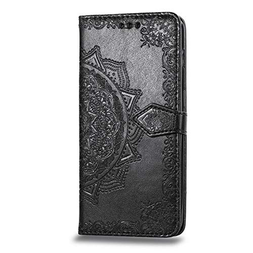 Alsoar ersatz für OnePlus 6T Handyhülle Mandala Schutzhülle Flip Hülle Tasche Leder Bookstyle Lederhülle für OnePlus 6T Ultra Slim Handytasche Wallet Stand Kredit Kartenfächer (Schwarz)
