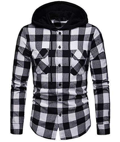Cyiozlir Herren Kariert Hemd Kapuzenpullover Langarm Hooded Freizeithemd Karohemd Flanellhemd mit Kapuze (Schwarz_A115,Large)