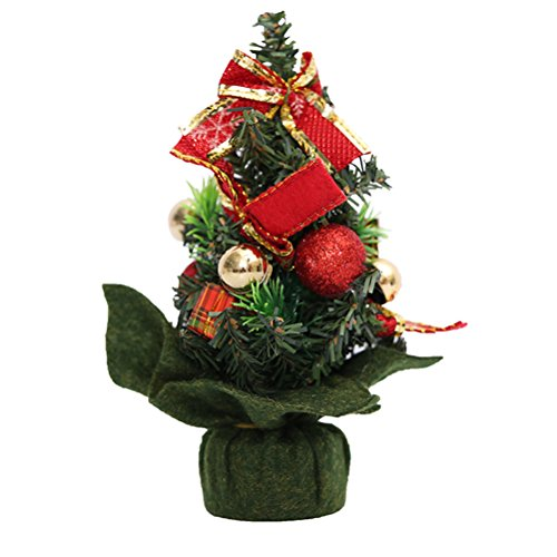 TINKSKY Mini Home Office Bedroom Living Room Desk Top Artifical Christmas Tree with Pinecone Bows Gifts Ornaments Decorations Christmas Birthday Gift for Friends (Red)