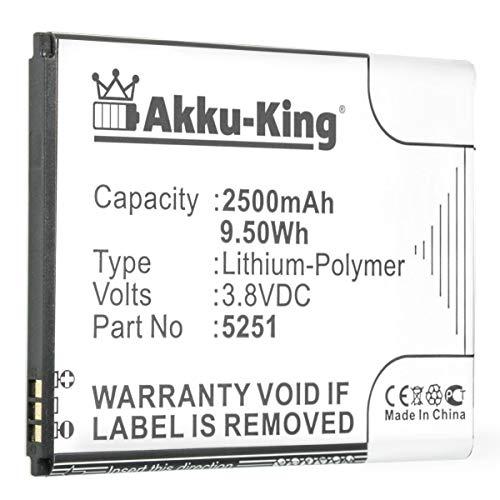 Akku-King Akku kompatibel mit Wiko 5251 - Li-Polymer 2500mAh - für Wiko Pulp 3G, Pulp 4G, Rainbow Jam 4G, Robby
