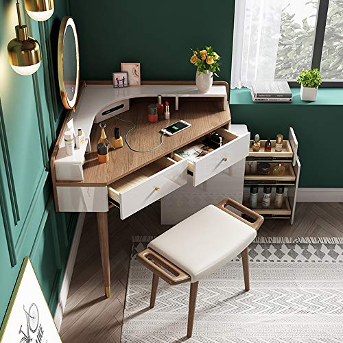 LLFFDC hoek dressoir tafel, massief hout dressoir tafel met krukje en LED licht spiegel, met USB opladen poort, slaapkamer moderne multifunctionele make-up bureau