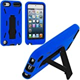 Blue / Black Hybrid Rugged Hard Silicone Case Cover w/ Stand for Apple iPod Touch 5th Generation 5G 5