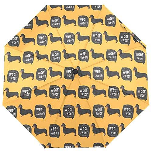 DJMJHG Hundeschirme Vollautomatischer Dackelschirm für Kinder DREI Klappschirme Frauen Regenschirme RegenArtikel 4
