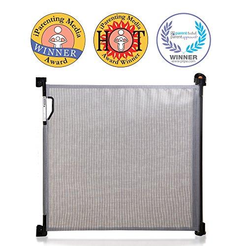 Dreambaby® (0-140cm) - Einziehbares/Einrollbares Tür- und Treppenschutzgitter für Babys und Haustiere. Extra-Hoch, Versetzbar, geeignet für den Innen- und Außenbereich. 2019 Version! (Grau)
