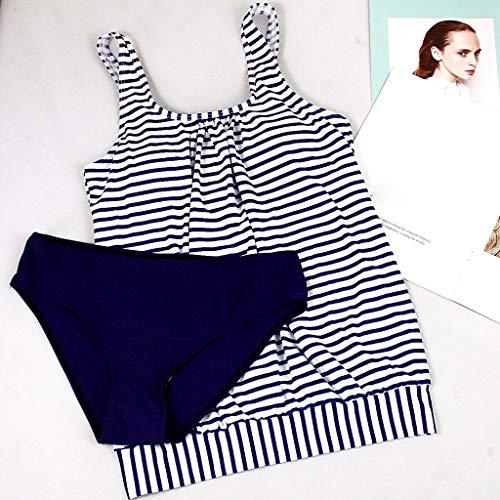 IZHH Damen Mode Tankini, Frauen Sommer Bademode RüCkenfreier Streifen Print Bademode Beachwear Siamese Bikini Set Gestreifte Sling Bikini Split Badeanzug Set(Marine,XXL)
