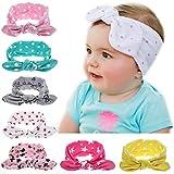 Esoar Polka Dot Stirnbänder, niedliche Schleife, Kopfbedeckung, Turban, Ohrenwärmer für Babys, Mädchen, 7 Stück