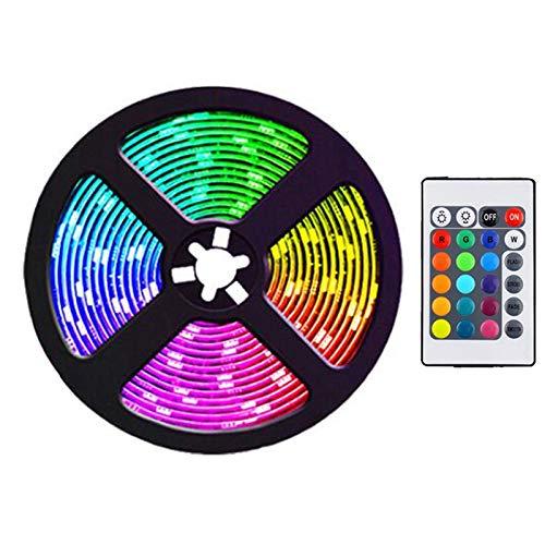 JISKGH Tira de Luces LED de 5M con 24 Teclas, Tiras de Luz RGB Que Cambian de Color Flexibles Remotas para Dormitorio, DecoracióN DIY, Enchufe de la UE