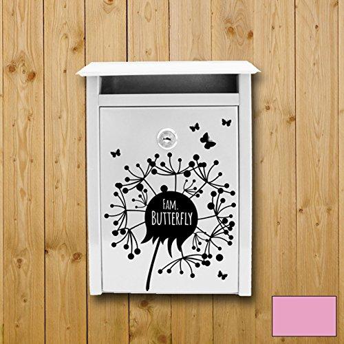 ilka parey wandtattoo-welt adhésifs décoratifs muraux boîte aux lettres autocollant pour la boîte aux lettres de pissenlit avec le nom de la coutume et les papillons M1876 couleur sélectionnée: *lilas* taille sélectionnée: *L - 30cm de large x 32cm de haut* - sans boîte aux lettres